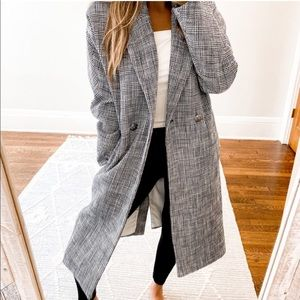 Veronica Beard Double Breast Plaid Coat Navy Blue and White Size Small